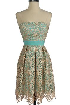 Teal dress w/ honeycomb lace overlay