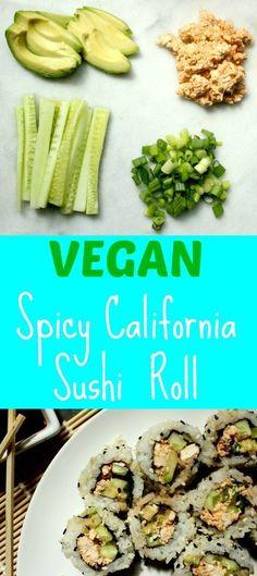 Vegan Spicy California Sushi Roll | Healthy Vegan Recipes for Weight Loss | Vegan Sushi Recipes | Clean Eating | Healthy Recipes | Vegan Lunch