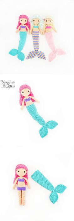 Crochet Pattern - Mindy the Mermaid Doll - Amigurumi Double Crochet, Single Crochet, Dk Weight Yarn, Mermaid Dolls, Yarn Needle, Cute Dolls, Stitch Markers, Slip Stitch, Amigurumi Doll