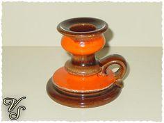 Kerzenständer - orange - braun - 70er. Von vintageschippie bei DaWanda.