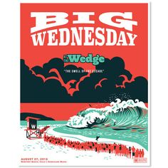 Big Wednesday The Wedge Poster by OddsandSodsCo on Etsy