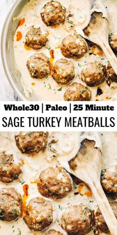 Unbelievably easy oven baked Paleo turkey meatballs and sage cream sauce. (Glute… Unbelievably easy oven baked Paleo turkey meatballs and Whole Foods, Paleo Whole 30, Whole Food Recipes, Cooking Recipes, Whole 30 Meals, Whole 30 Soup, Whole 30 Chicken Recipes, Coffe Recipes, Whole 30 Snacks