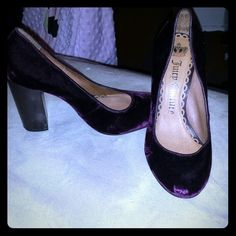 Juicy couture heels Nice velvet color the bottom is wore off but still in good condition Shoes Heels