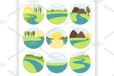 River and Landscape icons by Netkoff on @creativemarket