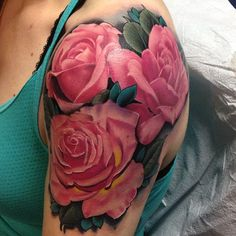 Absolutely beautiful realistic pink roses by Kyle Wood Tattoos (Woodwork Tattoo Poulsbo, WA) SO hard to find really well done PINK rose tattoos (that look THIS real!) I also really love how vivid this pink is!