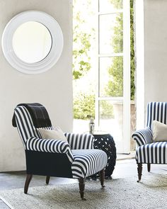 Patterns-Stripes, chair, Serena & Lily, chair design, Avignon chair, black and white stripes, striped chair