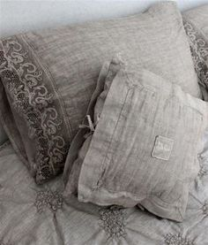 Grey linen pillows