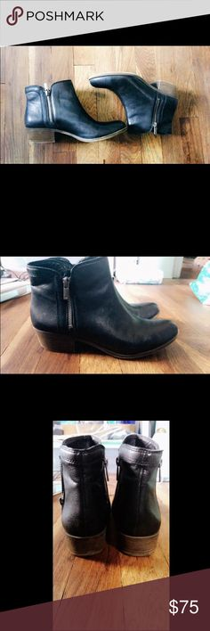 Lucky Brand Smooth Leather Zip Booties These shoes are absolutely gorgeous! We're giving to me for Christmas but too small for me. I let my roommate wear them once so they are still pretty much brand new. No flaws, in really excellent condition!! Shoes Ankle Boots & Booties