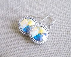 Bridal Earrings Swarovski Crystal AB Rivoli Sterling by SomsStudio, $16.00