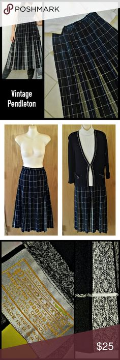 """Vintage Pendleton Pleated Wool Skirt SZ 14 PRICE IS FIRM. BUNDLE FOR 10% DISCOUNT.  DESCRIPTION: Black, gray & white plaid with contrast jacquard print inside pleats. Allover pleats sewn flat to hip for slimming look. Waistband & side zip. Unlined.  FABRIC CARE: Medium weight 100% virgin wool is dry clean only.  MEASUREMENTS: Flat waist measurement is 15"""". 31"""" long from waistband to hem.  CONDITION: Like new condition with crisp pleats, no stains or snags. Pendleton Skirts Midi"""