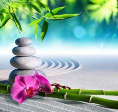 sand, orchid and massage stones in zen garden