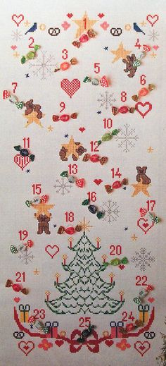 ADVENT CALENDAR Christmas Cross Stitch Craft Pattern OOP