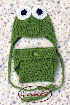 Crocheted Baby Girls or Boys Frog Hat & Diaper by Grandmabilt, $24.00