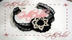 Victorian Goth Ribbon  Black Beige Flower Choker by GothDollie, $16.99