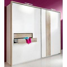 Armoire dressing penderie lingère 2 portes coulissantes 2 tiroirs 3 dimensions Fresh To Go - Blanc / décor chêne clair- Vue 1
