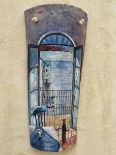 Apliques de pared pintados a mano sobre tejas antiguas