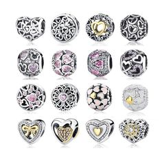 17 Hot 100% 925 Sterling Silver Full Of Love Heart Bead Fit Original Pandora Charm Bracelet Jewelry Birthday Day Lover Gift