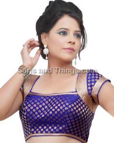 Royal Blue Brocade Party Wear Readymade Sari Blouse X-81 SL | Saris and Things