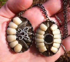 Big Teeth Ornate Pendants by BoneLust on Etsy