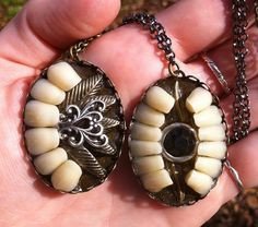 Big Teeth Ornate Pendants by BoneLust on Etsy