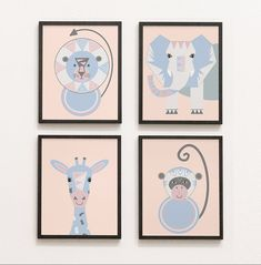Jungle Pictures, Animal Pictures, Safari Animals, Baby Animals, Nursery Prints, Nursery Decor, Giraffe, Elephant, Blue Bedroom