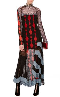 Women/'s Medium M Peter Pilotto Red Collared Shirt w// black Lace sleeves
