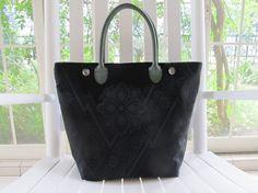 Flowers in Black Luster Kimono Tango Tote Bag  Made by KimonoTango, ¥15000