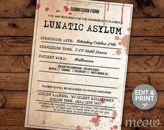 Lunatic Asylum Halloween Invitation Party Mental Hospital Printable INSTANT DOWNLOAD Morgue Submission Tickets Invites Personalized Editable