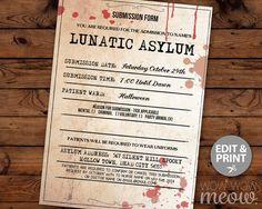 Lunatic Asylum Halloween Invitation Party Mental by wowwowmeow