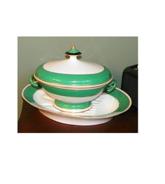 Antique Old paris Porcelain Meat Platter Soup Tureen Covered Casserole Serving Tray Green