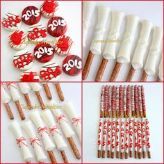 Buy Online! Custom, Elegant & Delicious! Gourmet White Chocolate dipped Pretzels shaped like Diplomas for Graduation Party favors or dessert! Yummy Pretzel Rods come in the form of diplomas - choose any color you like for the diploma and the ribbon!