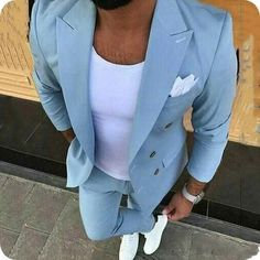 With the days of suits, shirts and office ties coming to an end, it is still possible to look smart and. Blue Suit Men, Mens Suit Vest, Suit Up, Mens Suits, Blue Suits, Black Tuxedo, Tuxedo For Men, Tuxedo Man, Groom Tuxedo