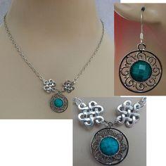 Green & Silver Celtic Knot Necklace & Earrings Set Jewelry NEW Adjustable  #handmade http://www.ebay.com/itm/152064474859?ssPageName=STRK:MESELX:IT&_trksid=p3984.m1555.l2649