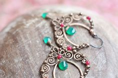 Wire wrapped gypsy copper earrings with chrisoprase by SabiKrabi, $55.00