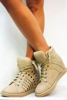 Picture of Studded Sneaker Wedge in Taupe