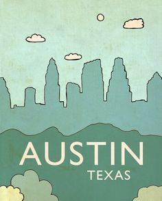Children Home Decor Nursery Art Print // Austin No.6 // Skyline Illustration and Typography City Travel Cityscape Landscape Art Print