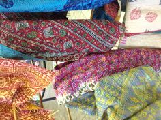 Scarves made from vintage silk Indian saris available at The French Market. $39.99 #thefrenchmarket