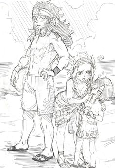 Gajeel and Levy's family at the beach