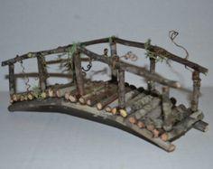 Fairy Garden Bridge, miniature mini terrarium decor pixie home, elf house decoration, wood twig water element woodland creature handmade - Modern