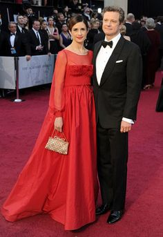 The gorgeous Livia Firth and Colin, wearing sustainable clothes for the Oscars as part of the Green Carpet Challenge.