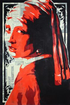 Title: Girl with a pearl earring. Medium: Spray paint, vintage newsprint on canvas. 24 x 36 inches, 2012.    https://www.etsy.com/listing/103749490/stenciled-print-of-vermeers-girl-with