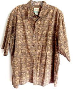 Reyn Spooner Fowl Flag Hawaiian aloha cotton blend placket shirt sz M tan #ReynSpooner #Hawaiian