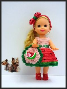 "Kelly Doll Crochet Clothes ""Watermelon Delight"" 