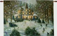 Horseless Carriage by © Arthur Anderson, remote control fiber optic tapestry wallhanging features a beautiful winter scene, the entrancing sparkling glow brings the holiday spirit into the home. Tapestry wall hangings lights up with fiber optics. Found at Cindy's Throws.