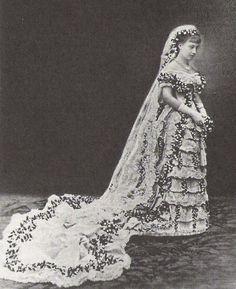 Wedding dress of Princess Victoria of Baden when she married Crown Prince Gustaf (later King Gustaf V) of Sweden - 1881