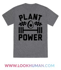 "Plant-based powered and proud! This vegan fitness design features the text ""Plant Power"" with a dumbbell, avocado, and leafy greens. Perfect for the foodie, vegan foodie, health nut, vegan workout, gym rat, vegan athletes and lover of plant protein!"