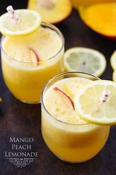 Sweet and tangy mango peach lemonade you can whip up in minutes!