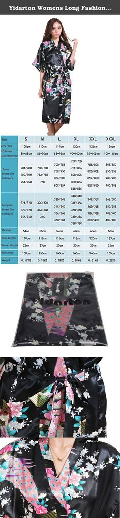 Yidarton Womens Long Fashion Kimono Robe with Peacock and Blossoms Black Large. 100% high quality. Material: Synthetic, A tenderness touches like satin and silk. Package Contents: 1 x Women's Dresses Size: Bust - Shoulder Width - Length Size M: 88cm-95cm; 57cm; 115cm; Size L: 90cm-100cm; 60cm; 118cm; Size XL: 95cm-105cm; 63cm; 120cm; Size XXL: 100cm-115cm; 68cm-; 123cm; Note: The figures above are measured manually by putting the kimono any dish, please reference the same style of…