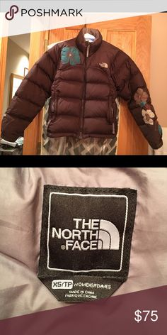 North Face Short Winter Coat Used but still in great condition. Women's XS but can be worn by a child. Brown with flower detailing on front and arm. SUPER CUTE! The North Face Jackets & Coats Puffers