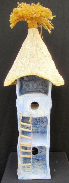 Edith Léon mixed media, birdhouse, maison d'oiseaux, vogelhuis